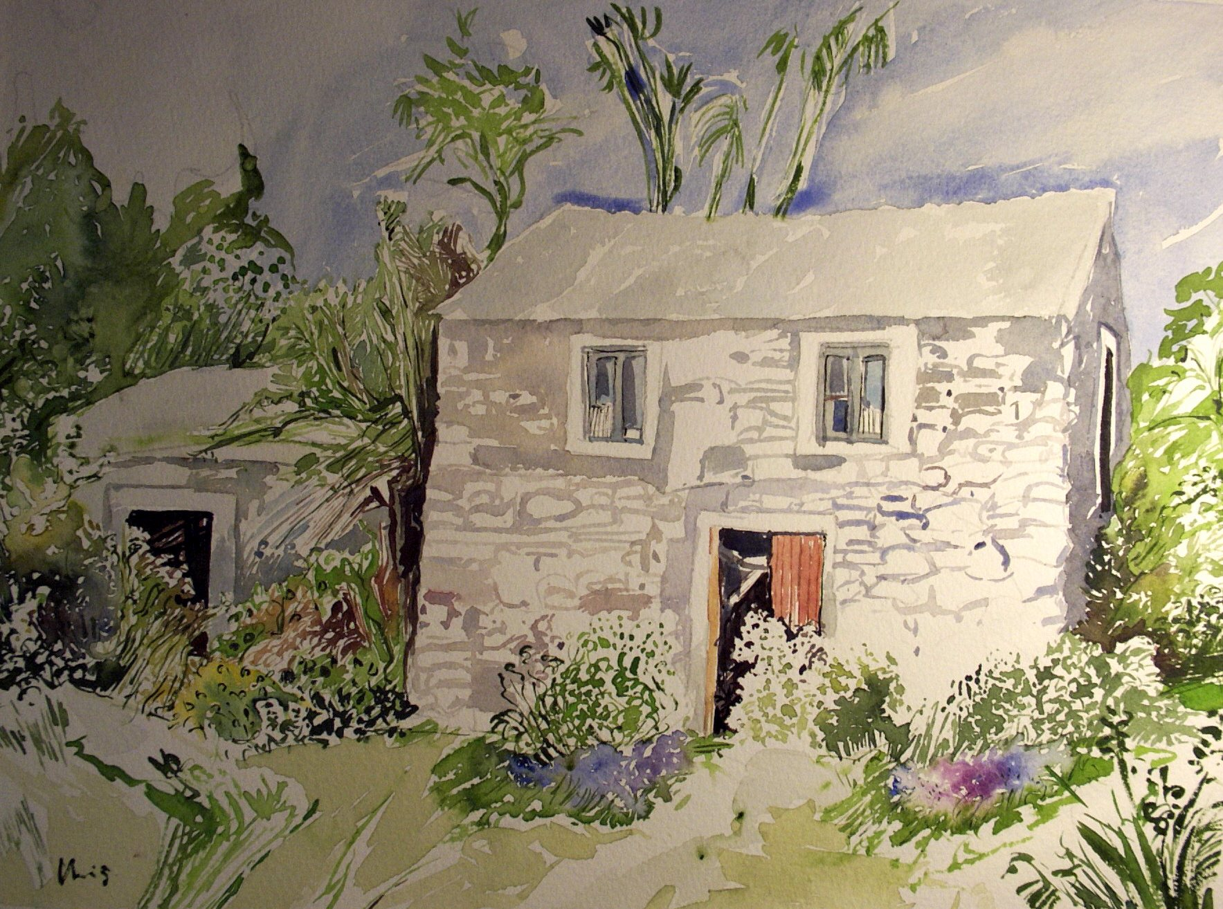 Bild madeira haus in prazeres aquarell 41 x 32 nr for Haus in madeira